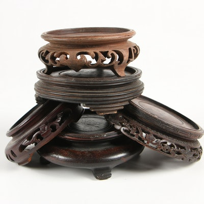 Chinese Carved Rosewood Stands