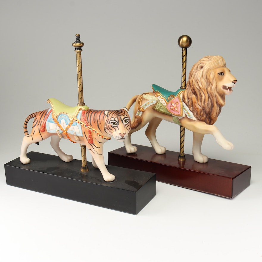 Cybis Porcelain Carousel Lion and Tiger Figurines