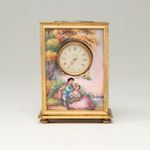 Schild & Co. Hand-Painted Genre Scene Brass and Porcelain Carriage Clock