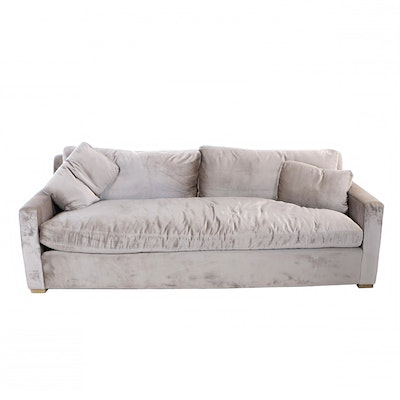 "Restoration Hardware, ""Belgian Track Arm"" Custom-Upholstered Luxe Sofa"