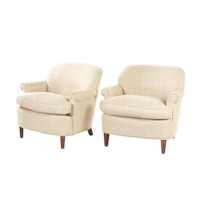 Pair of Burlap-Upholstered Club Chairs