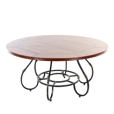 Baroque Style Brass-Mounted Iron Dining Table with Round, Plank Top