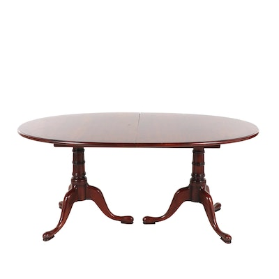 Statton Queen Anne Style Cherry Dining Table with Four Leaves