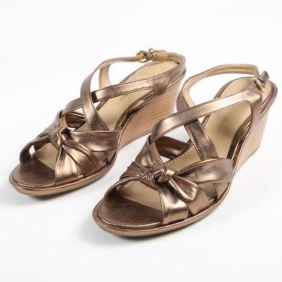 B. Makowsky Metallic Leather Wedge Sandals