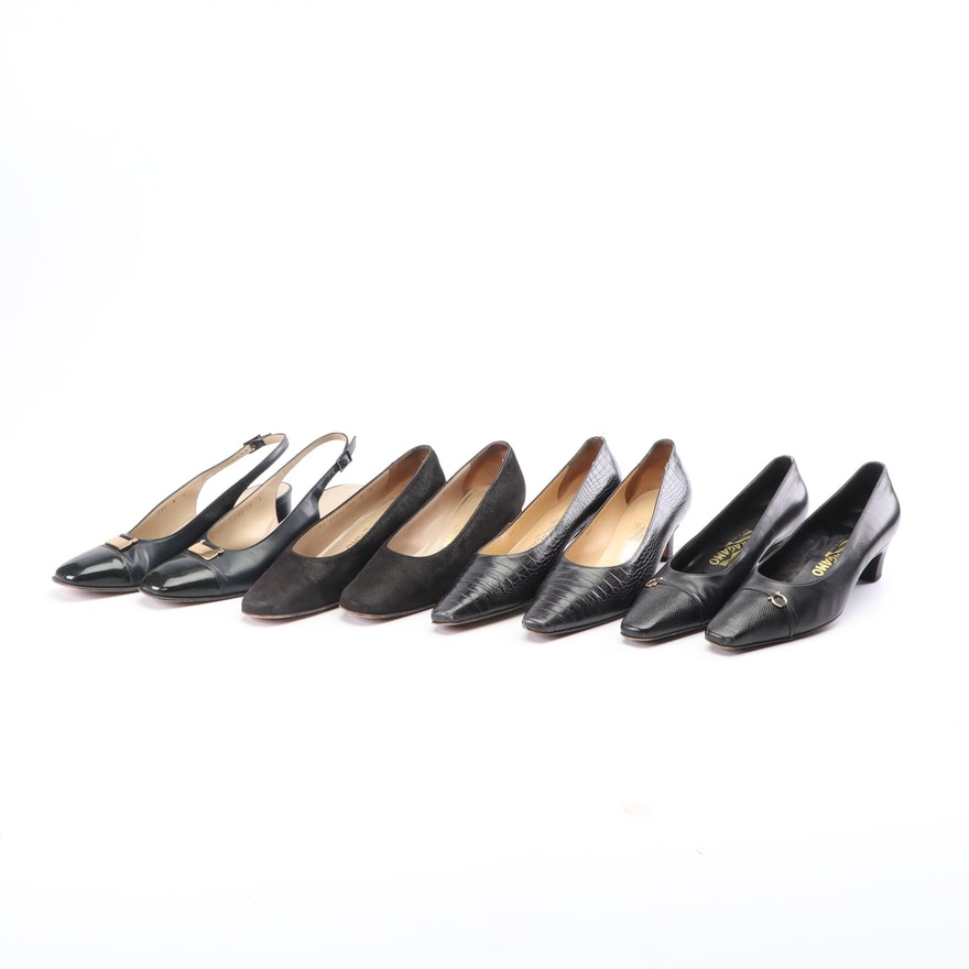 Salvatore Ferragamo Leather, Embossed Leather, and Suede Pumps and Slingbacks
