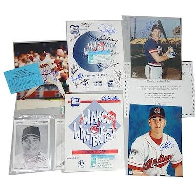 Cleveland Indians Signed Programs, Photographs with Bob Feller, Sandy Alomar