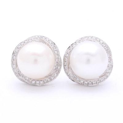 18K White Gold Pearl and Diamond Earrings