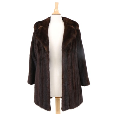 Dark Mahogany Brown Mink Fur Coat from Sincerely Gidding Jenny, 1960s Vintage