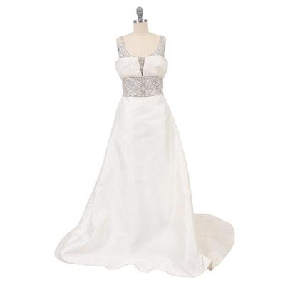 Badgley Mischka Embellished Off-White Silk Sleeveless Wedding Gown