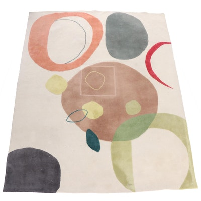 Tufted Indian Mid Century Modern Style Wool Area Rug