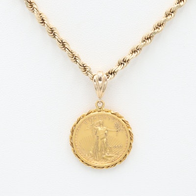14K Yellow Gold Necklace with 1992 $10 American Gold Eagle 1/4 Oz. Bullion Coin