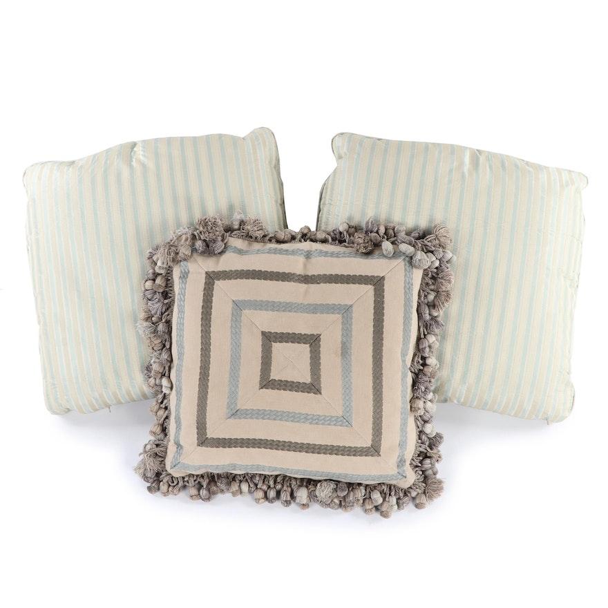 Striped And Tel Down Throw Pillows Ebth