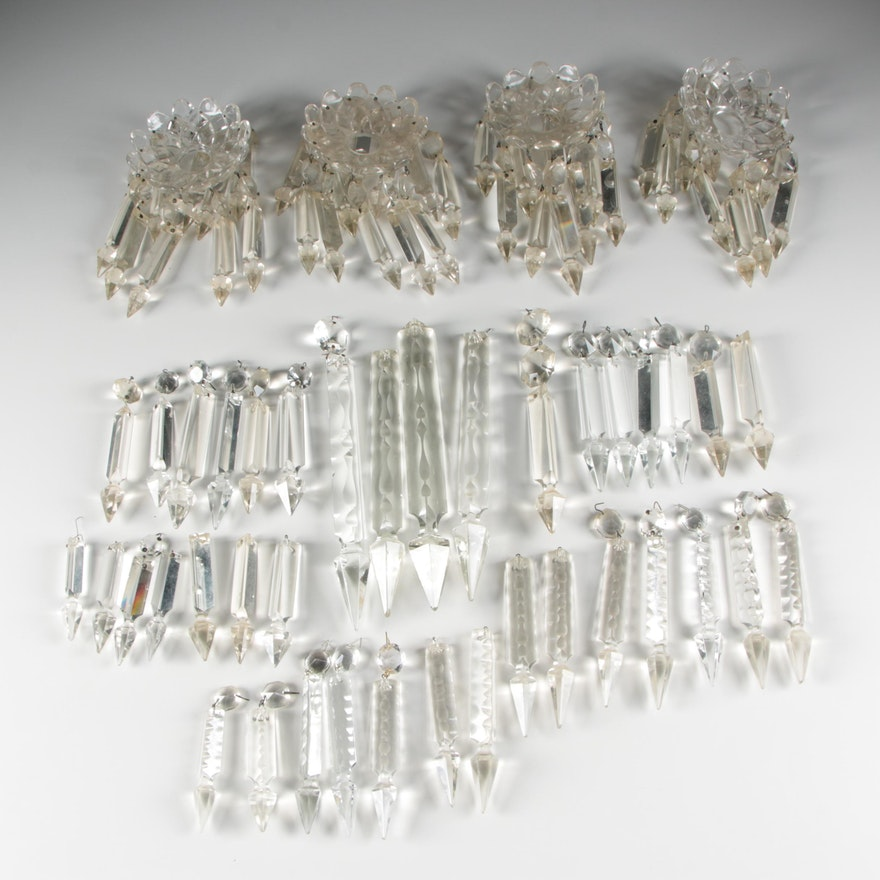 Ornate Crystal Chandelier Prisms and Bobèches