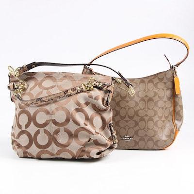 Coach Faux Snake Trim Hobo Bag and Signature Coated Canvas Shoulder Bag