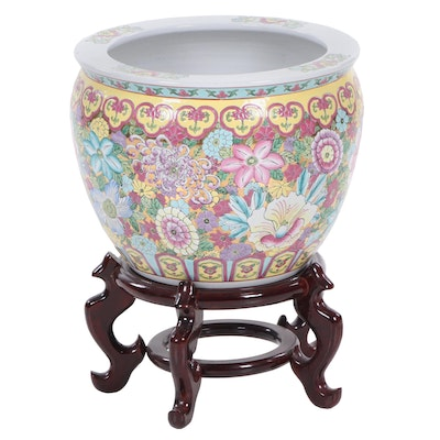 Chinese Hand-Painted Ceramic Fishbowl Planter with Stand