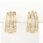 14K Yellow Gold 2.37 CTW Diamond Huggie Earrings