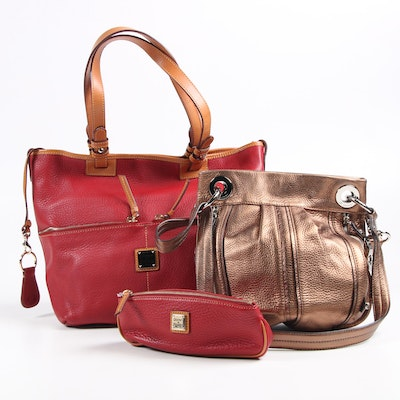 Dooney & Bourke Tote and Pouch with B. Makowsky Shoulder Bag in Pebbled Leather