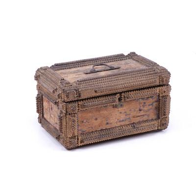 Tramp Art Wooden Box, Mid 19th Century