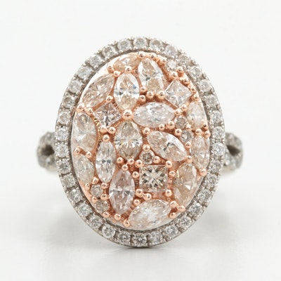 14K White Gold 2.30 CTW Diamond Ring with Rose Gold Accents