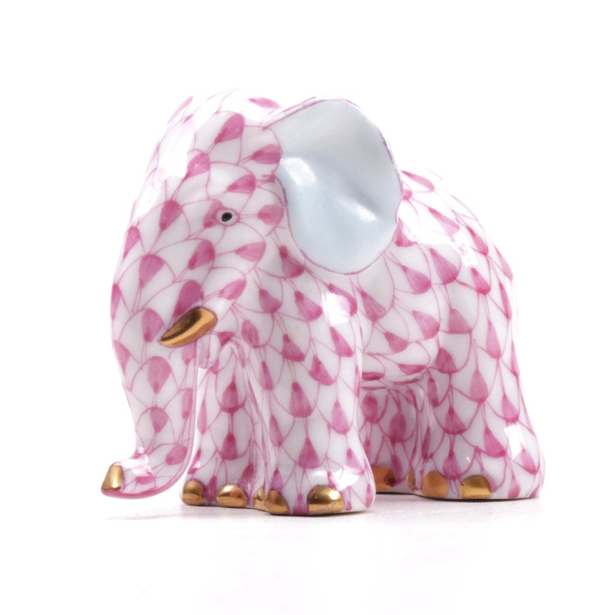 "Herend Raspberry Fishnet ""Miniature Elephant"" Porcelain Figurine, April 1994"