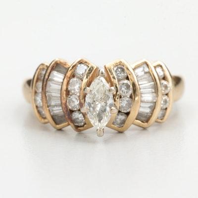 14K Yellow Gold 1.15 CTW Diamond Ring
