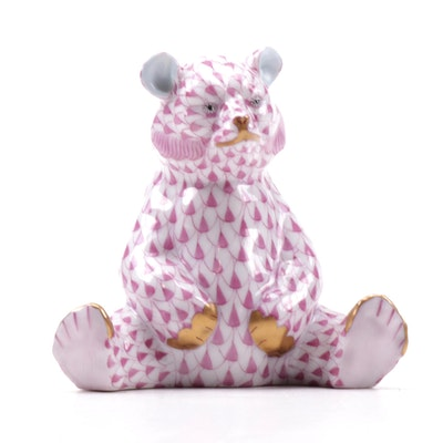 "Herend Raspberry Fishnet ""Baby Bear Sitting"" Porcelain Figurine, October 1993"