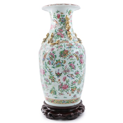 Chinese Famille Rose Porcelain Vase on Stand, Late Qing/Republic Period