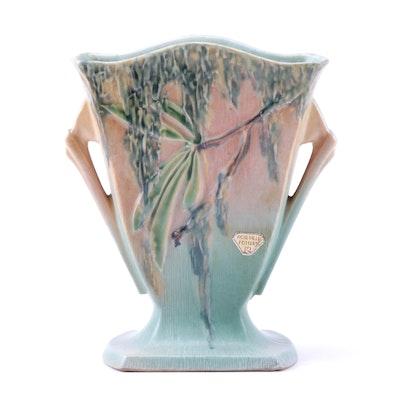 """Roseville Pottery """"Moss"""" Fan Vase, 1930s"""