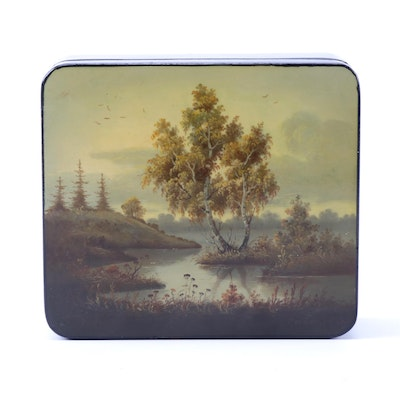 Russian Hand Painted Landscape Lacquer Box