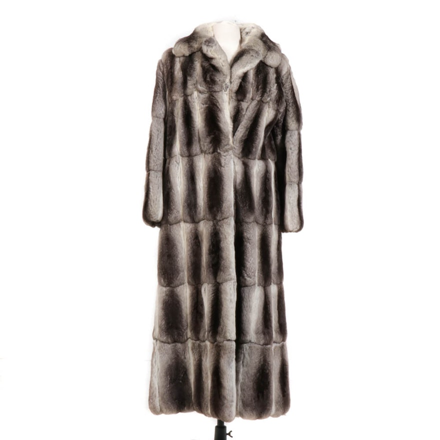 Chinchilla Fur Coat with Adjustable Length from Sarian of New York, Vintage