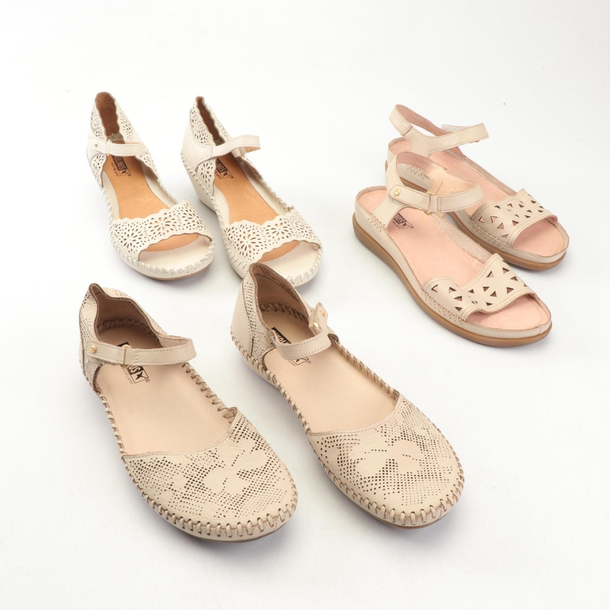 Pikolinos Leather Laser Cut Sandals