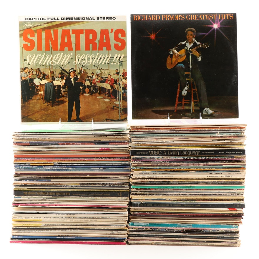 Two Bins of LP's Featuring Frank Sinatra, Richard Pryor, Billy Graham, Much More