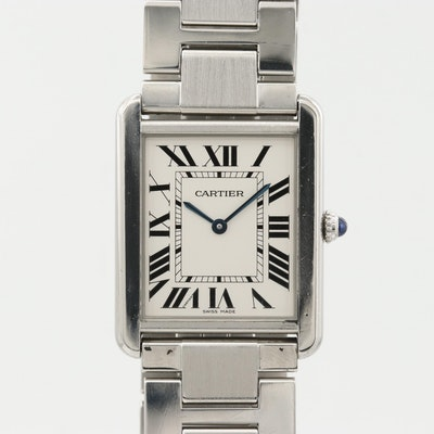 Cartier Tank Solo Large Stainless Steel Quartz Wristwatch