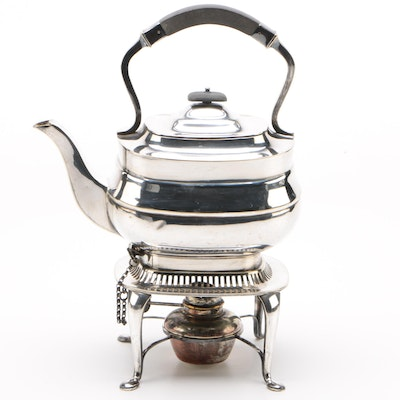 William Hutton & Sons Silver Plate Teapot with Burner