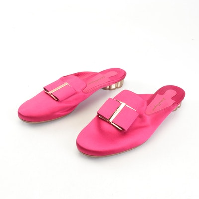 Salvatore Ferragamo Pink Satin Sciacca Bow Slip-On Mules with Flower Heels