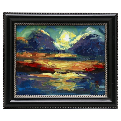 "Martin Azari Oil Painting ""Ocean Sunset with Clouds"""