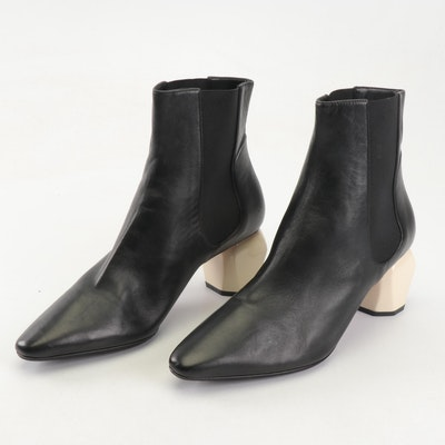 Sportmax Black Leather Fify Pointed Toe Ankle Boots