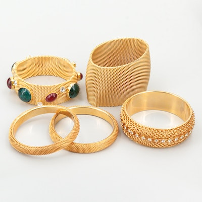 Collection of Gold Tone Gemstone Bracelets with Rhinestone Accents