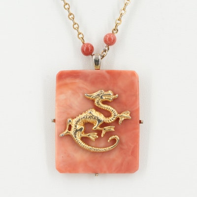 Vintage Hattie Carnegie Resin and Glass Dragon Pendant Necklace