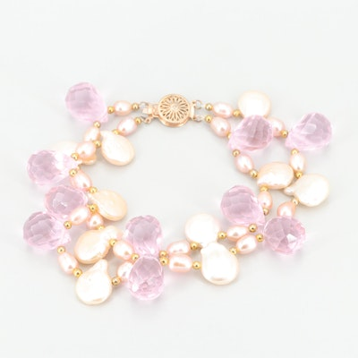 Gold Tone Cultured Pearl and Glass Bracelet