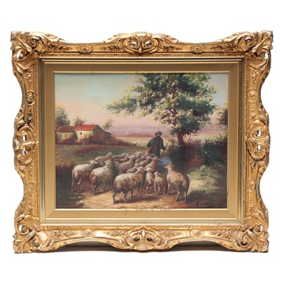 Oil Painting of Pastoral Scene with Sheep