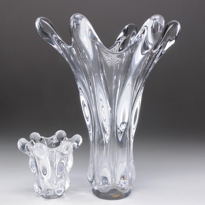 French Cofrac Art Verrier Crystal and Glass Vases