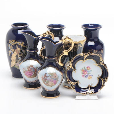 Limoges, Weimar, Ardco, and Other Porcelain Vases and Trinket Dish