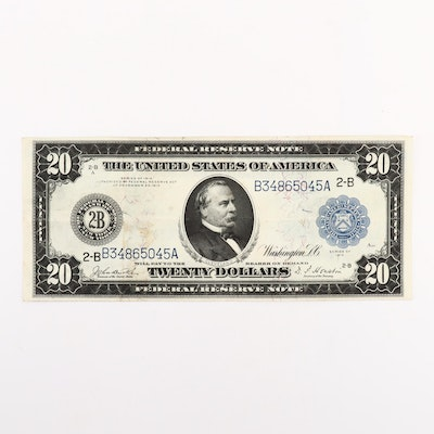 Large Format Series of 1914 Blue Seal $20 Federal Reserve Note