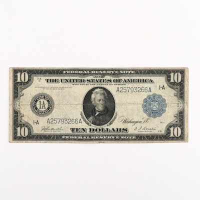 Large Format Series of 1914 Blue Seal $10 Federal Reserve Note
