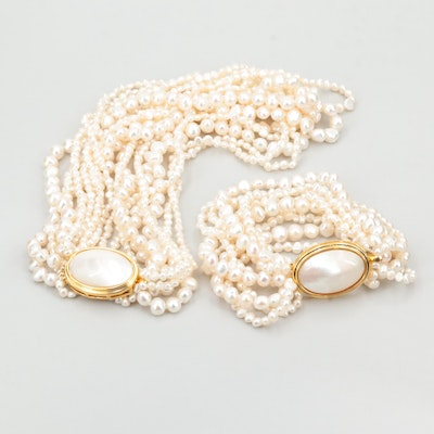 Nine Strand Cultured Pearl Necklace and Bracelet Set with Gold Tone Findings