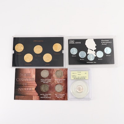 Collection Sets of U.S. Coins Including 1999 Gold-Plated Statehood Quarter Set