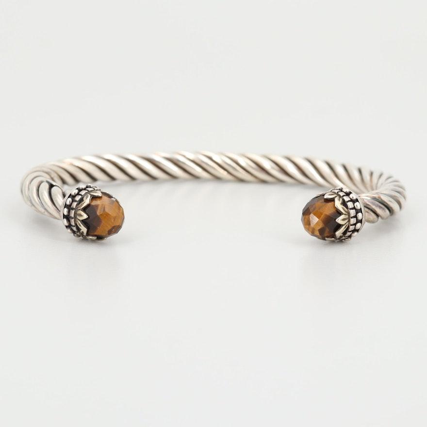 Sterling Silver Tiger's Eye Twisted Cuff Bracelet