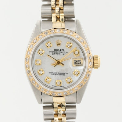 Rolex Datejust Two-Tone Wristwatch With Diamond Dial and Bezel, 1979