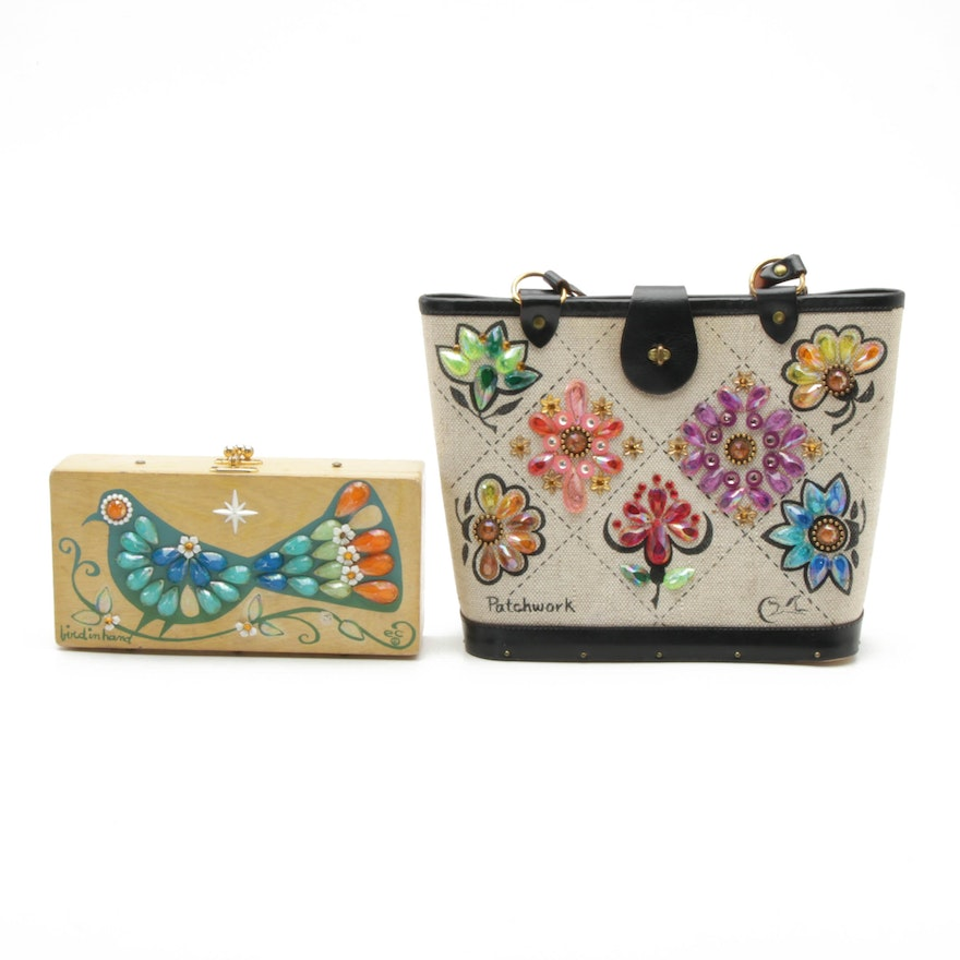 "Enid Collins Embellished ""Bird in Hand"" Box Clutch Purse and ""Patchwork"" Handbag"